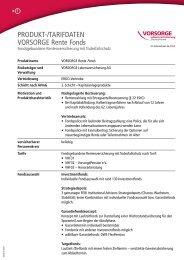 PRODUKT-/TARIFDATEN VORSORGE Rente Fonds
