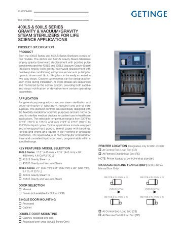400ls & 500ls series gravity & vacuum/gravity - BioMedical Solutions ...