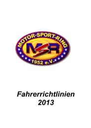 Fahrerrichtlinien 2013 - Motor Sport Ring