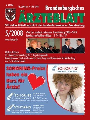 Brandenburgisches Ärztebaltt 5/2008 - Landesärztekammer ...
