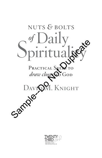 Daily Spirituality - Pastoral Planning