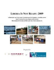 LIBERIA IS NOT READY: 2009 - The Advocates for Human Rights