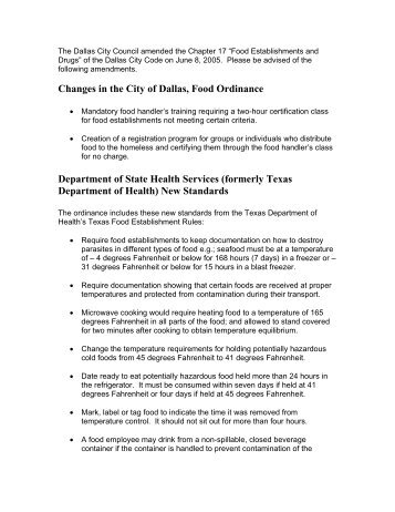 Proposed Changes in the City of Dallas, Food Ordinance