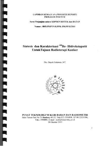 Sintesis dan Karakterisasi 188Re_ Hidroksiapatit ... - KM Ristek