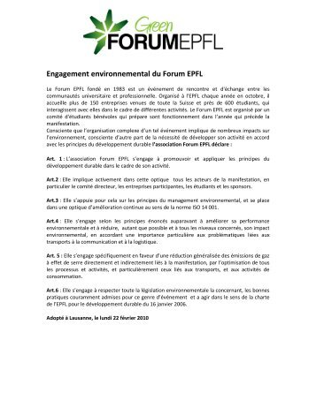 Engagement environnemental du Forum EPFL