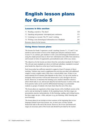 English lesson plans for Grade 5