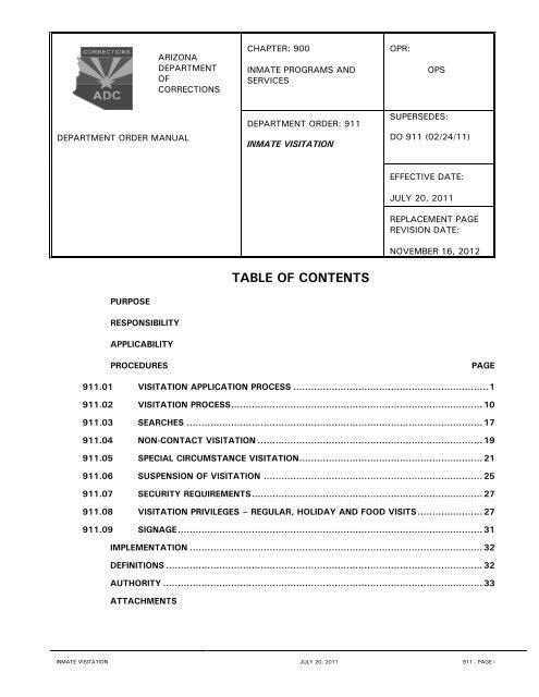 DO 911 - Inmate Visitation - Arizona Department of Corrections
