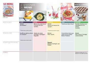 Vous mangez sainement avec recettes et semainier de LE MENU