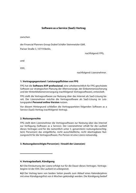 Muster Lizenzvertrag Pdf Datei Avp Professional