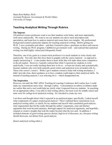 Teaching Analytical Writing Through Rubrics