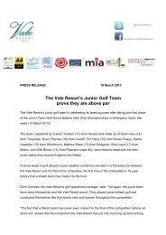 Junior Golf Win Press Release - Vale Resort