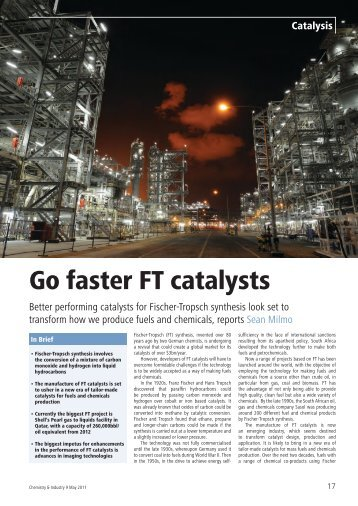 Go Faster FT Catalysts (Chemistry and Industry, May-11) - Oxford ...