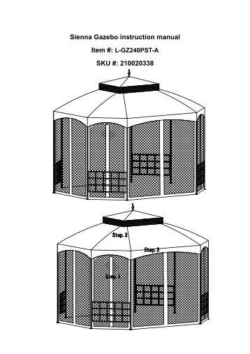 Sienna Gazebo Instruction Manual SKU 210020338