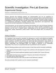 Scientific Investigation: Pre-Lab Exercise - De Anza College