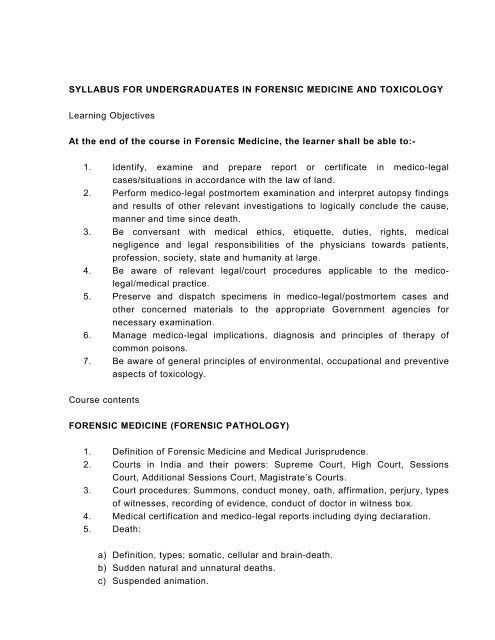 Syllabus In Forensic Medicine For M B B S Students In India Pdf