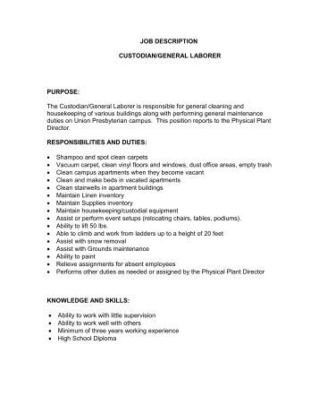 Job Description For A General Laborer In A Production Environment
