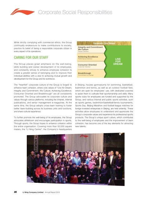 2010 Corporate Social Responsibility Report - Li Ning