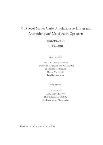 Multilevel Monte-Carlo Simulationsverfahren mit ... - G-CSC Home