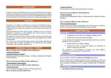 características justificación objetivos contenidos, fechas y ponente