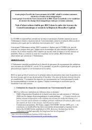 Avant-projet d'arrêté du Gouvernement de la RBC relatif à ... - BECI