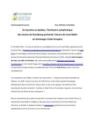 En tournée au Québec, l'Orchestre symphonique ... - Eurochestries