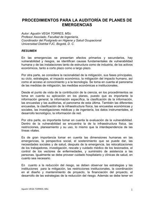 Procedimientos Para La Auditoría De Planes De Emergencias