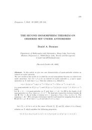 The second isomorphism theorem on ordered set ... - Kjm.pmf.kg.ac.rs