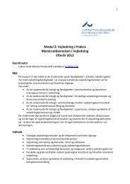 Modul 3: Vejledning i Praksis Masteruddannelsen i ... - For Studerende