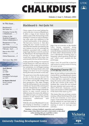 ChalkDust 2003 - Centre for Academic Development - Victoria ...