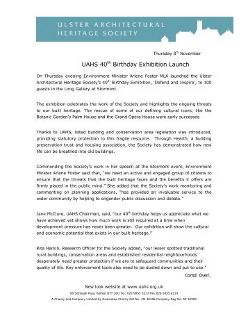 Read the press release. - Ulster Architectural Heritage Society