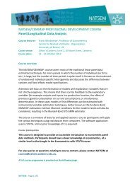 Panel/Longitudinal Data Analysis - NATSEM