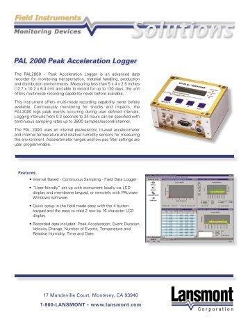PAL 2000 Peak Acceleration Logger - Garello & De Giosa snc