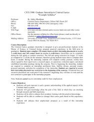 Graduate Internship in Criminal Justice *Example Syllabus