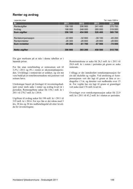 Budsjett 2011 vedteke - Hordaland fylkeskommune