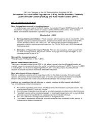 FAQs on Changes to the NCIP - Immunization Branch - NC.gov