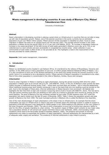 Takomborerwa Hove - Waste management in developing countries
