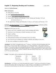 English 72- Beginning Reading and Vocabulary