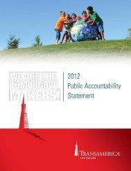 2012 Public Accountability Statement - Transamerica Life Canada
