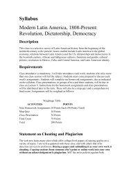 Syllabus Modern Latin America, 1808-Present: Revolution ...
