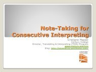 Note-Taking for Consecutive Interpreting - IMIA