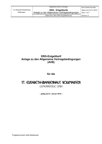 DRG Entgelttarif Rev14 - St. Elisabeth-Krankenhaus Volkmarsen
