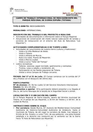 campo de trabajo internacional de medioambiente del ... - Infojove