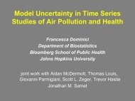 Controlling for confounding in time series studies of air ... - IMAGe