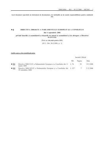 B DIRECTIVA 2006/66/CE A PARLAMENTULUI EUROPEAN ȘI A ...
