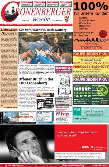 Offener Bruch in der CDU Cronenberg - Cronenberger Woche