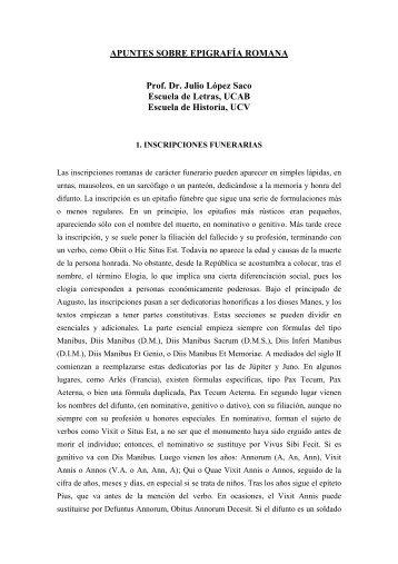 APUNTES SOBRE EPIGRAFÍA ROMANA Prof. Dr. Julio López Saco ...