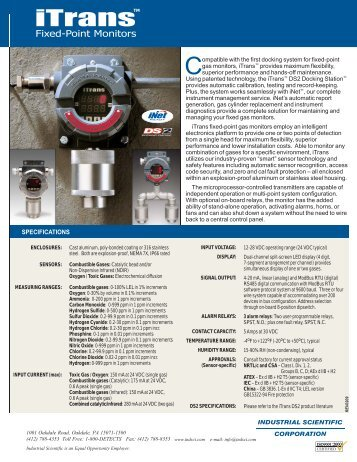 SPECIFICATIONS - Gas Alarm Systems