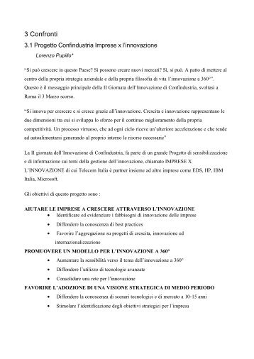 Progetto Confindustria Imprese x l'innovazione - Icomit.it