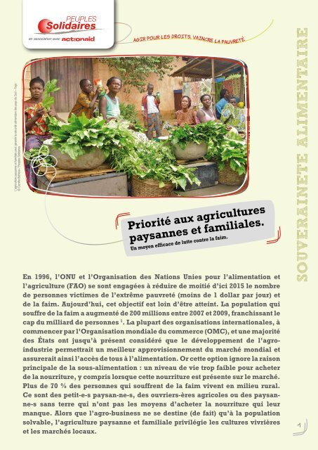 un moyen efficace de lutte contre la faim (pdf) - Peuples solidaires
