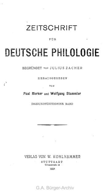 deutsche philologie - Leben und Werk des Dichters Gottfried August ...